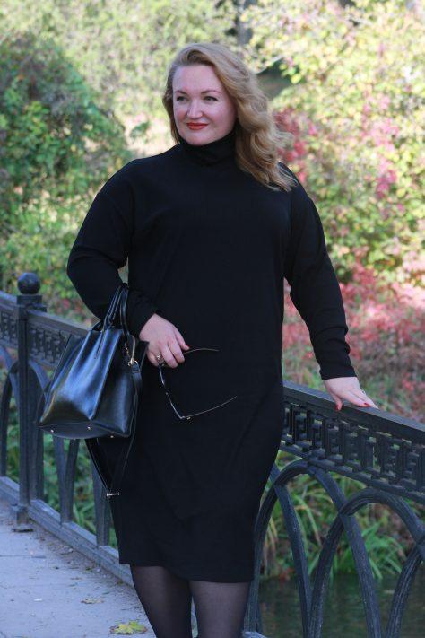 Базовое трикотажное платье plus-size