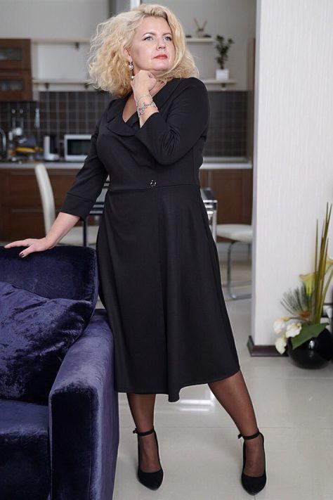 Платье «на запах»  клешное большого размера