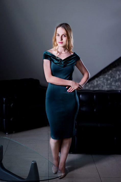 Платье с бархатной отделкой